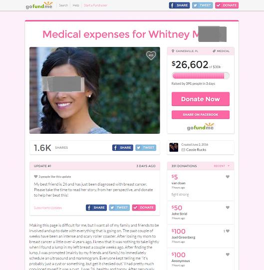 Medical expenses for Whitney